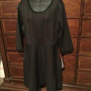 Nina Leonard Fit&Flare Geometric print swtr dress